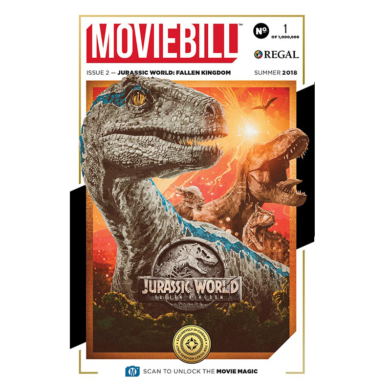 This is the cover to the second issue of Moviebill, celebrating Jurassic World: Fallen Kingdom.