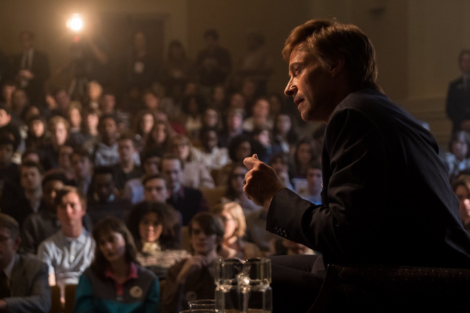 Hugh Jackman plays Senator Gary Hart in the upcoming The Front Runner movie.