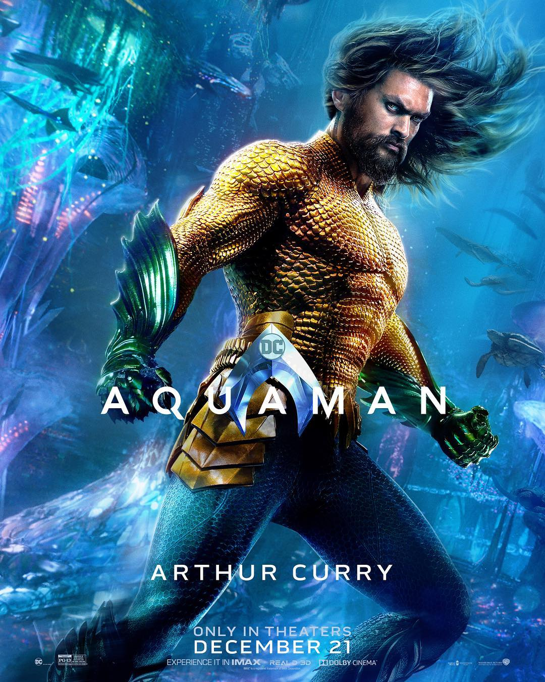 Jason Momoa is Arthur Curry on a new Aquaman poster.