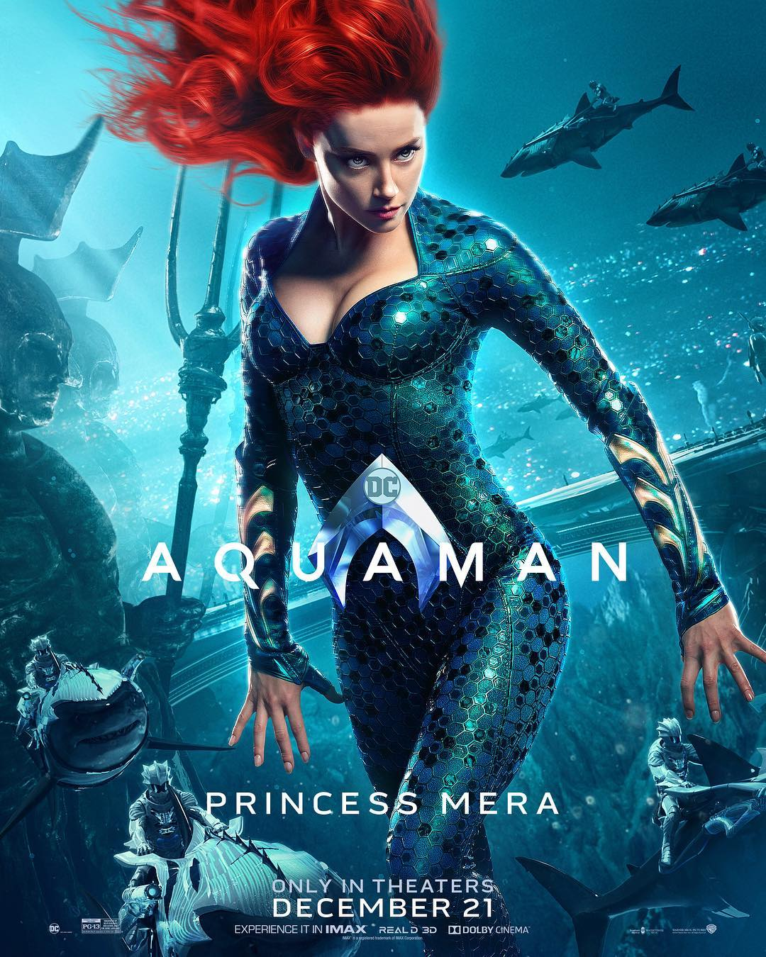 Amber Heard is Mera on a new Aquaman movie poster.