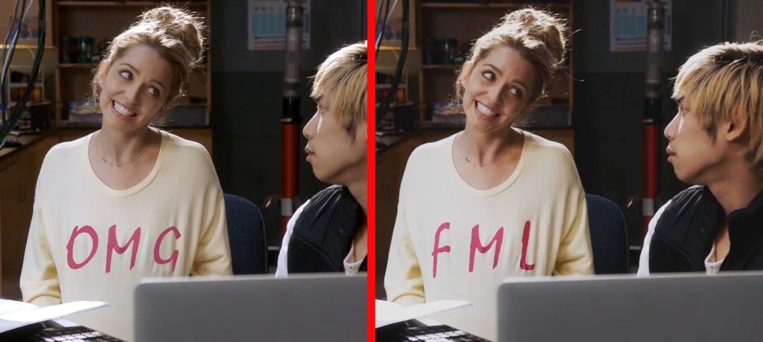 Tree's sweater changes from FML to OMG in the Happy Death Day 2U ads.