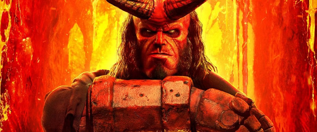 Watch a clip from the new Hellboy movie, featuring stars Ian McShane and David Harbour.