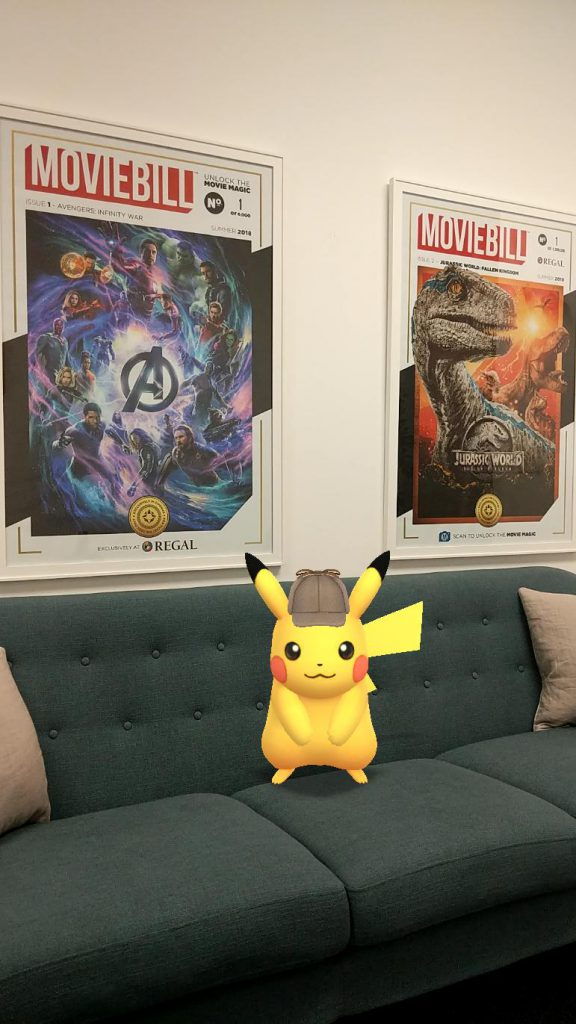 Detective Pikachu is taking a break in the Moviebill lobby.