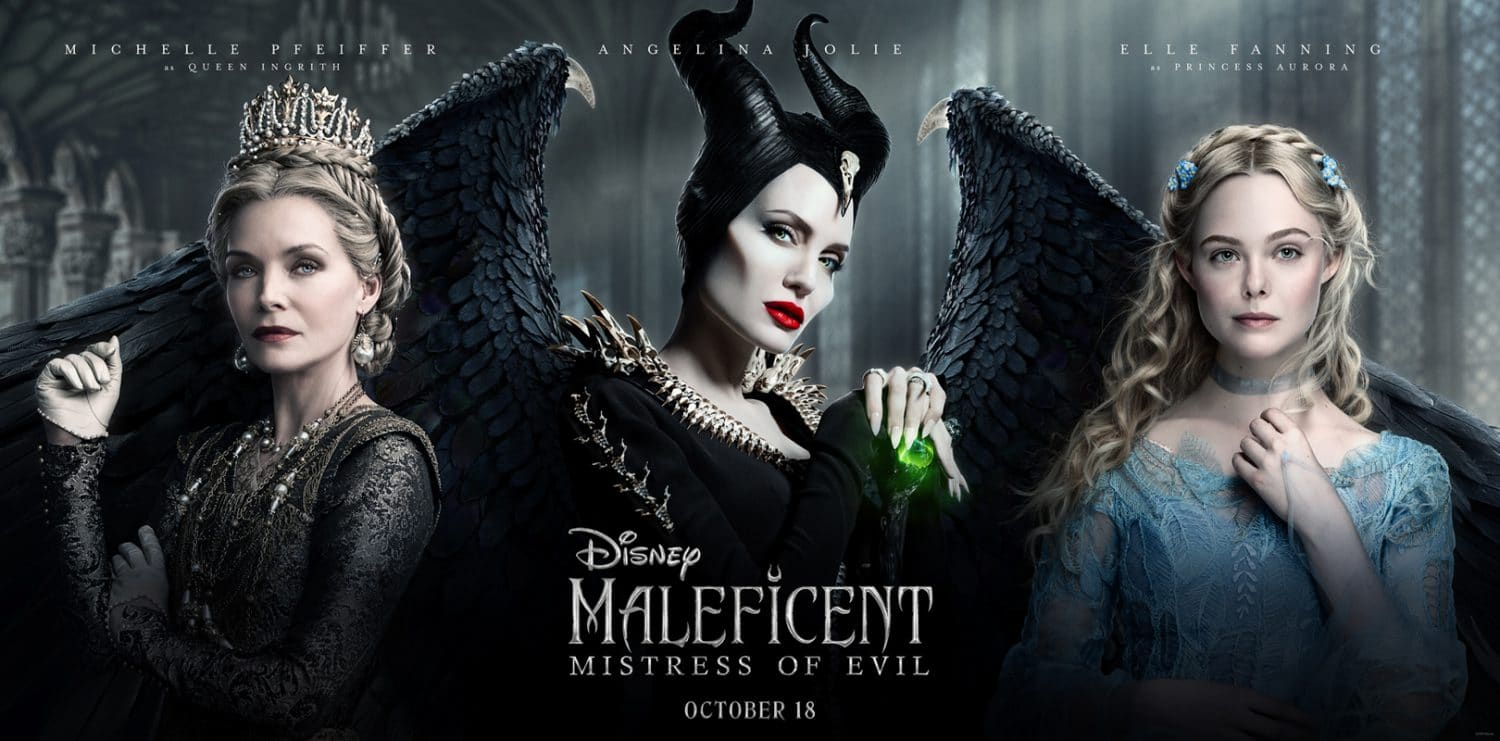 A new Maleficent: Mistress of Evil movie poster triptych features Angelina Jolie, Elle Fanning and Michelle Pffieffer.